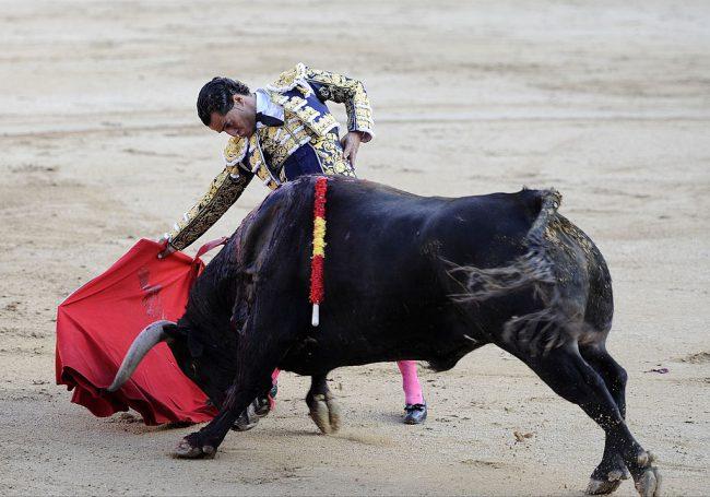 Ivan Fandino performs during bullfights at Plaza de Toros de Las Ventas in Madrid, Spain, May 22, 2013.