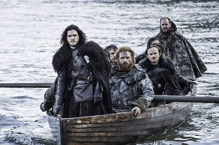 "Kit Harington as Jon Snow, left, in a scene from ""Game of Thrones.""."