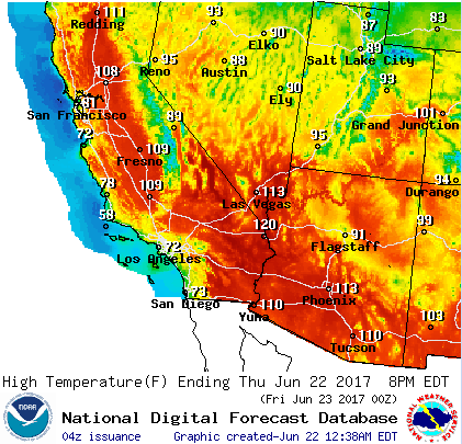A graphical forecast by the U.S. National Weather Service shows how hot it's been in the U.S. Southwest.