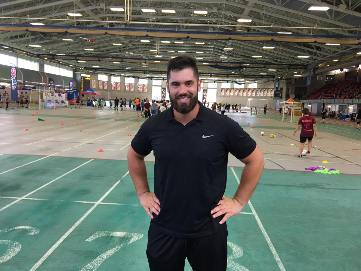 Montreal-born NFL star Laurent Duvernay-Tardif at McGIll University's Tomlinson Fieldhouse. June 20, 2017.