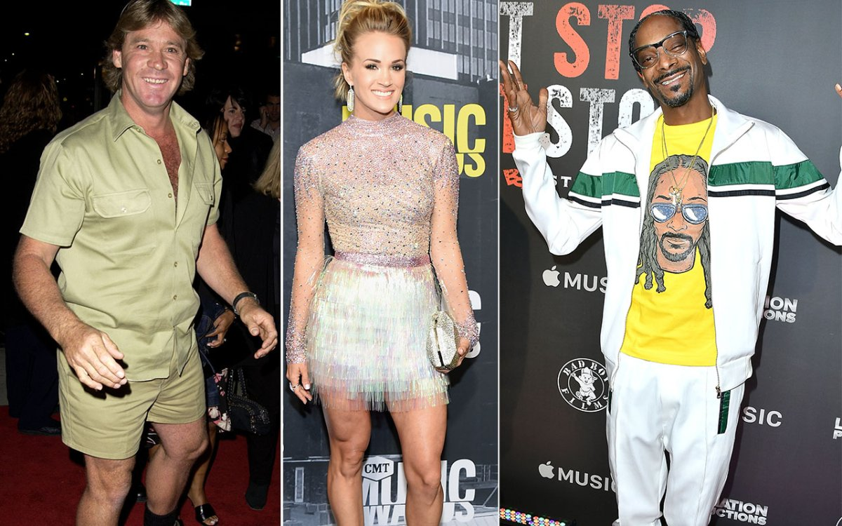 (L-R) Steve Irwin, Carrie Underwood and Snoop Dogg.