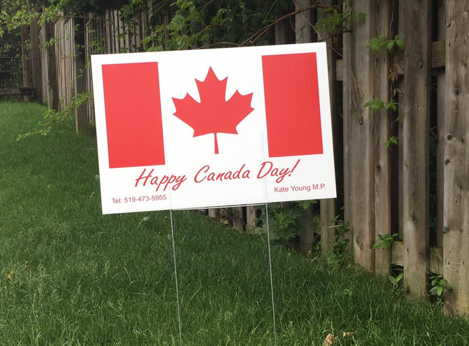 A Canada Day lawn sign adorns a boulevard in the London-West riding.