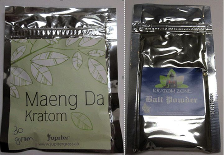 A photo of some of the unathorized kratom products seized from two Edmonton stores.