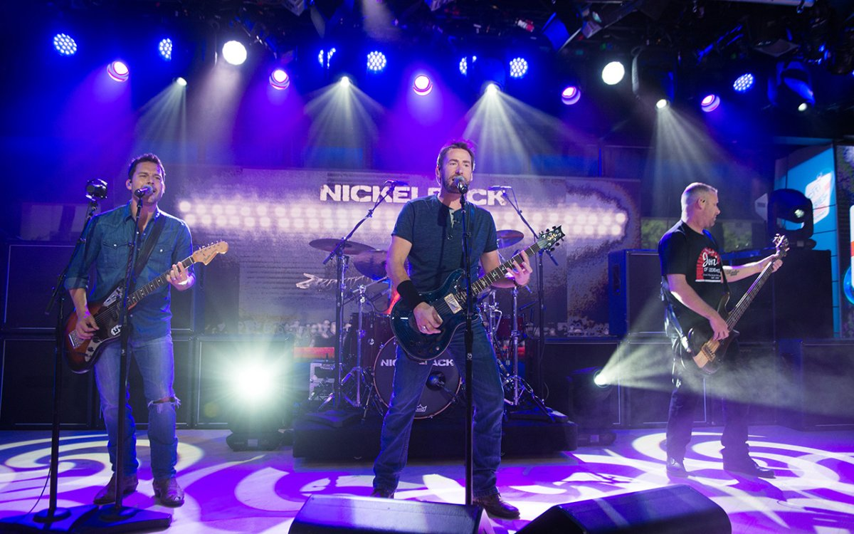 (L-R) Ryan Peake, Chad Kroeger, Daniel Adair, Mike Kroeger of Nickelback on Monday, June 13, 2017.