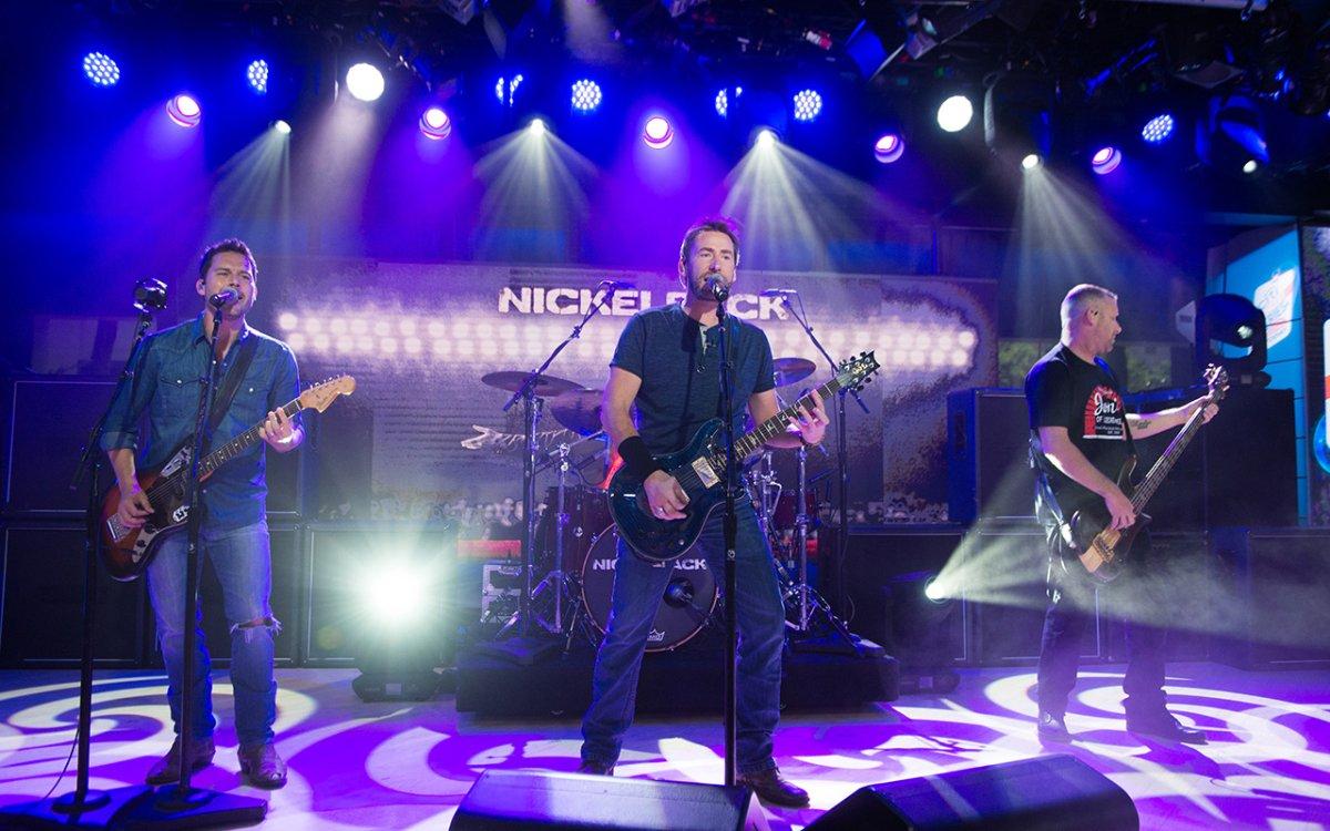 (L-R) Ryan Peake, Chad Kroeger, Daniel Adair, Mike Kroeger of Nickelback on Monday, June 13, 2017.