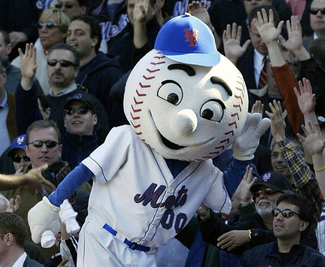 FILE - In this April 11, 2005, file photo, New York Mets mascot Mr. Met reacts with the crowd during the Mets home opener against the Houston Astros at Shea Stadium in New York.