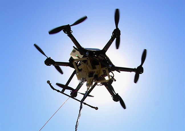 FILE - This Friday, Sept. 6, 2013, file photo shows a drone at a testing site in Lincoln, Neb.