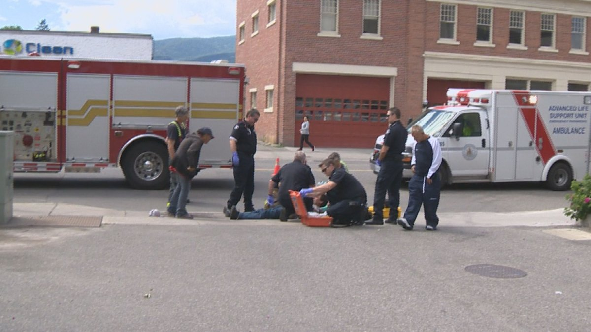 A man is revived with Naloxone by paramedics after experiencing a drug overdose in Kelowna in 2017.