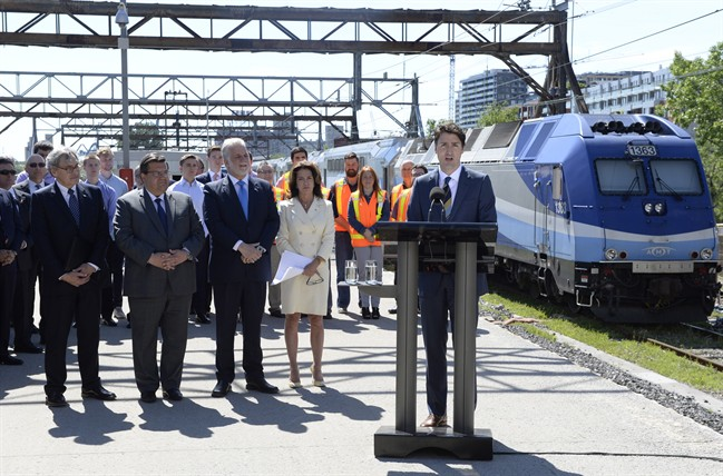 Prime Minister Justin Trudeau announces a $1.28-billion funding commitment for a Montreal light rail project on Thursday June 15, 2017. This funding announcement is one of more than 6,800 funding announcements the Trudeau government had made in its first two years in office -- and every one is tracked by our OttawaSpends database.
