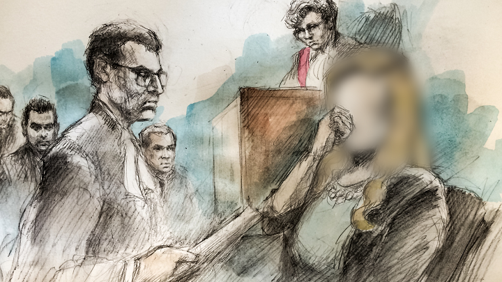 In this artist's sketch, Crown attorney Ted Ofiara (left foreground) questions the complainant (right) in front of Justice Anne Molloy at the sexual assault trial for Toronto police officers (background) Joshua Cabero, Sameer Kara and Leslie Nyznik in Toronto on June 7, 2017.