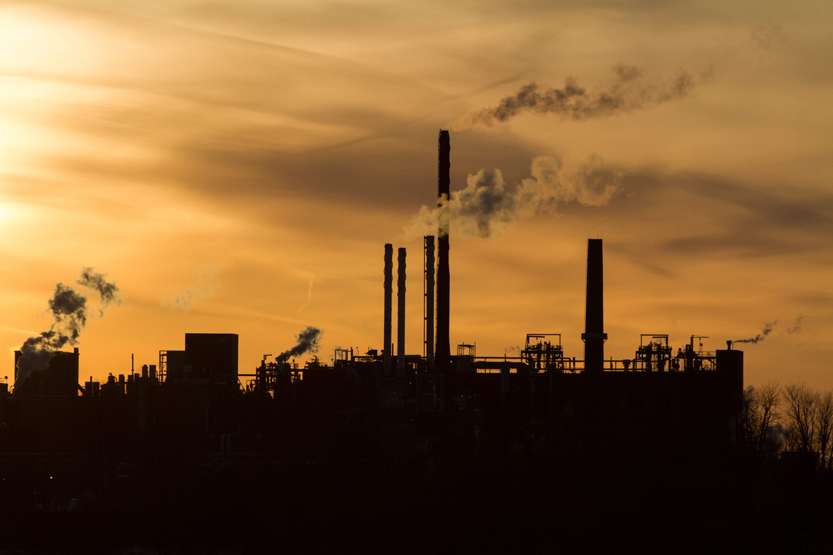 Dupont plant in Kingston, Ont., during sunset on Feb. 22, 2016.