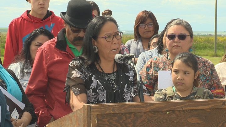 Ramona Big Head said she became the subject of a racial slur in a text message. She spoke with the media in Cardston. Alta. on Thursday, June 22, 2017.