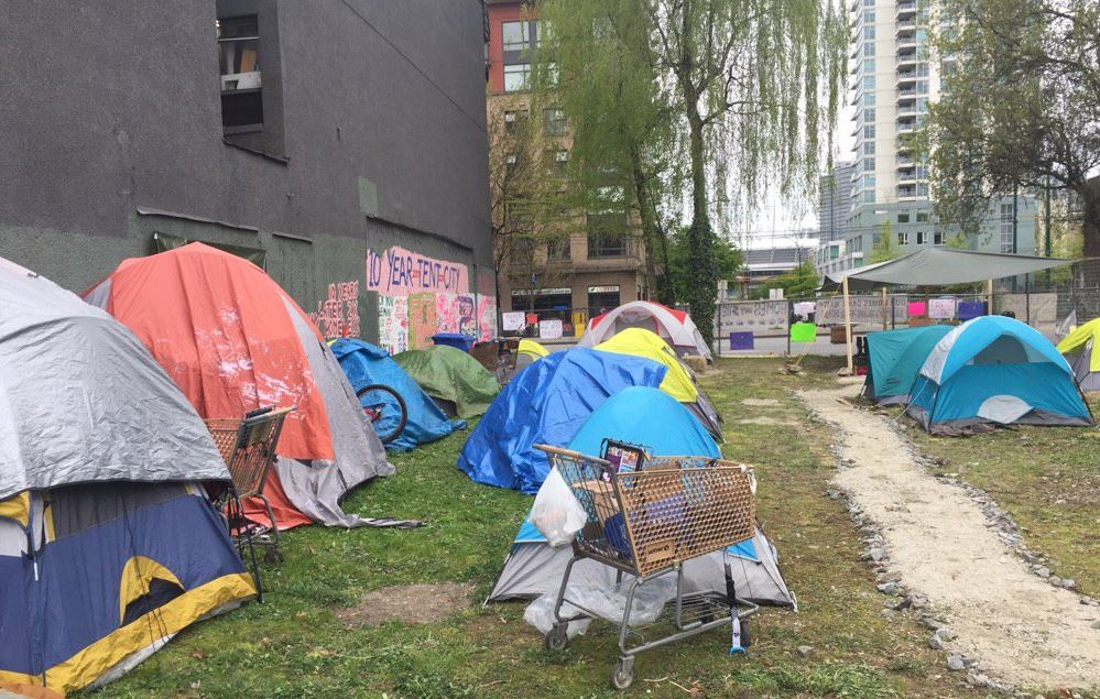 """The """"Ten year tent city"""" at 950 Main St. in Vancouver."""