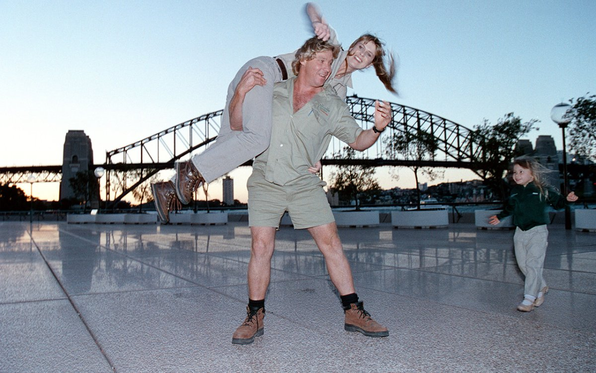 The late Steve Irwin with his wife Terri and daughter Bindi.