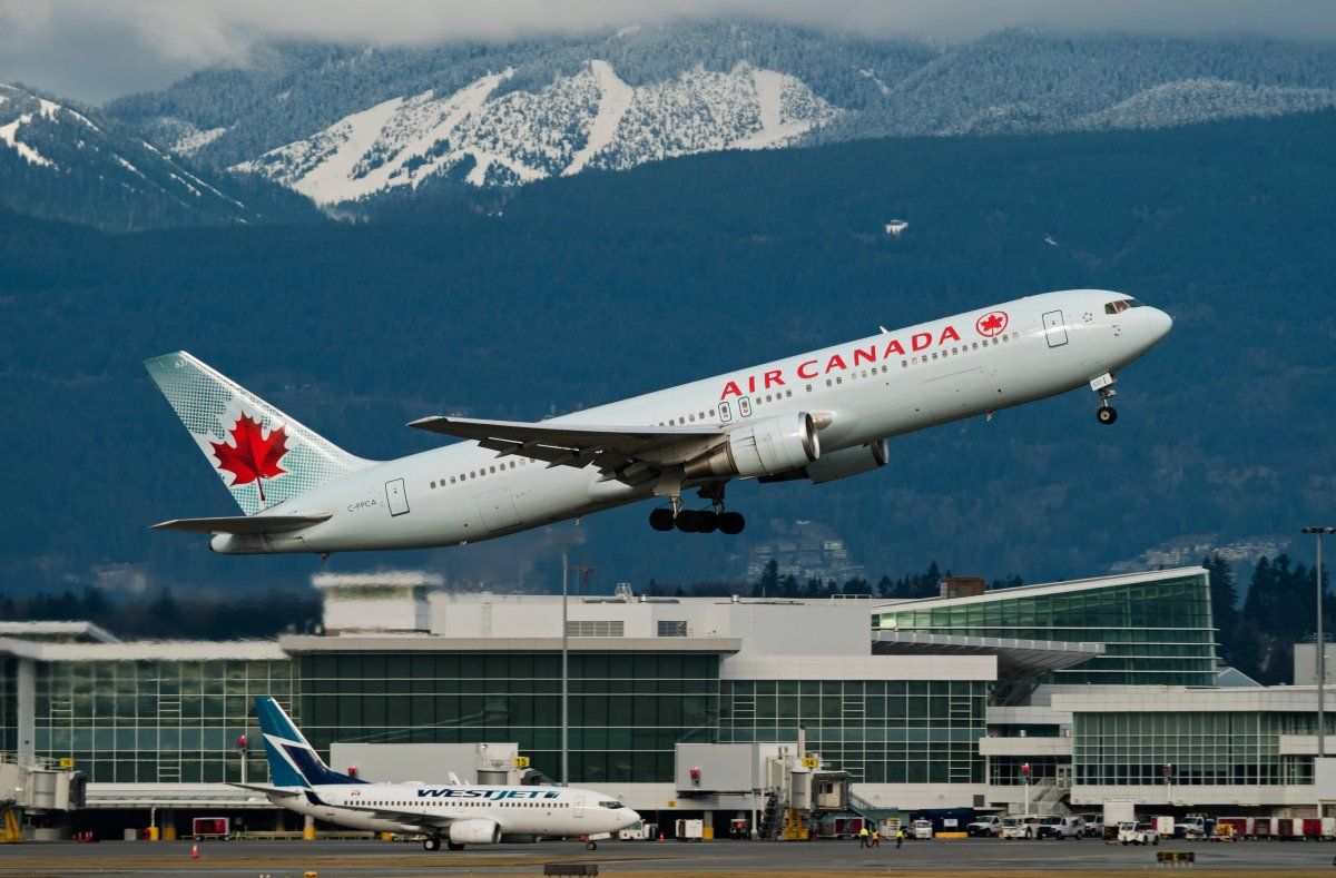 An Air Canada Boeing 767 (767-300ER) wide-body airliner takes off from Vancouver International Airport, Richmond, B.C., January 21, 2017.