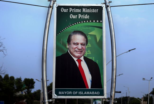 A billboard shows the portrait of Pakistani Prime Minister Nawaz Sharif displayed at a main highway in Islamabad, Pakistan, July 10, 2017.