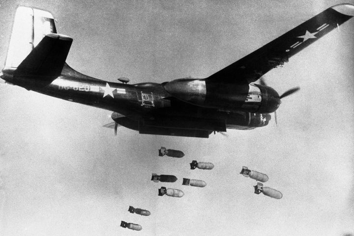 In this March 18, 1953, file photo, bombs drop from a U.S. Air Force 3rd bomber wing B26 light bomber somewhere in North Korea.