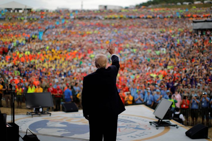U.S. President Donald Trump waves after delivering remarks at the 2017 National Scout Jamboree in Summit Bechtel National Scout Reserve, West Virginia, U.S., July 24, 2017.