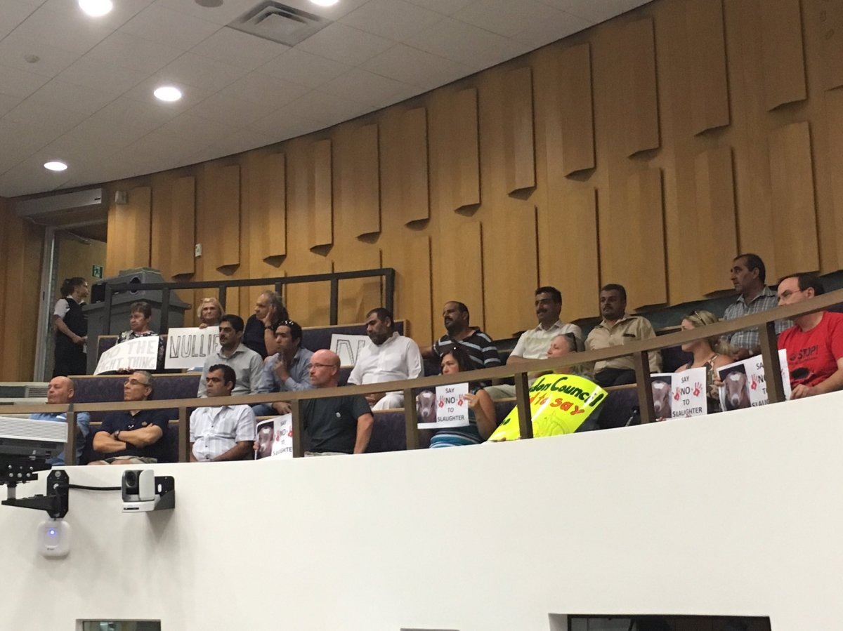 Animal rights advocates, local residents, and members of the Muslim community filled the gallery inside council chambers on July 25, 2017.