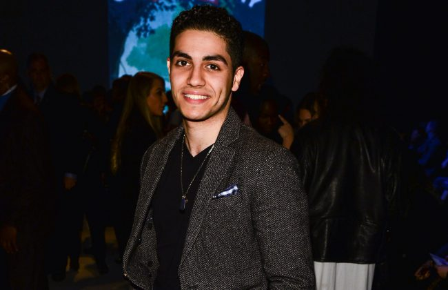 Mena Massoud attends World MasterCard Fashion Week Fall 2015 Collections Day 3 at David Pecaut Square in Toronto, March 25, 2015.