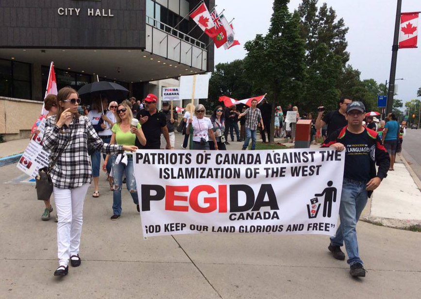 Members of PEGIDA protested at London City Hall before making their way to Victoria Park on July 22, 2017.