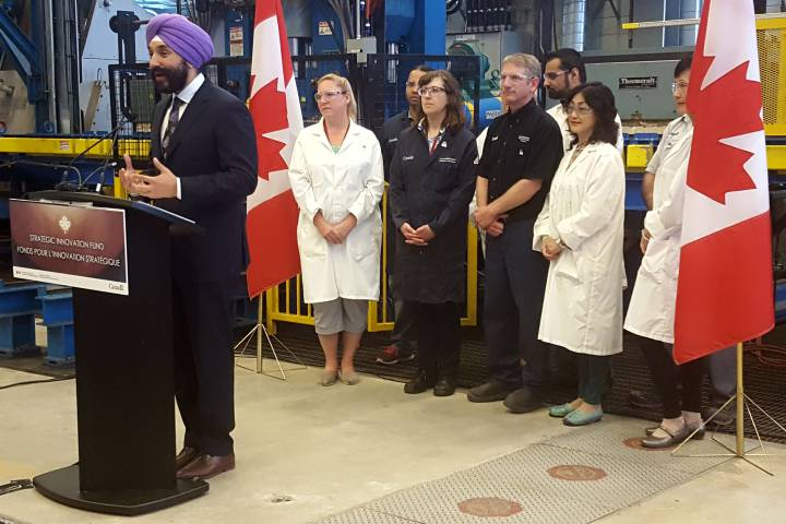 Economic Development Minister Navdeep Bains  announced the expansion of Ottawa's strategic innovation fund at the McMaster Innovation Park in Hamilton on July 5.