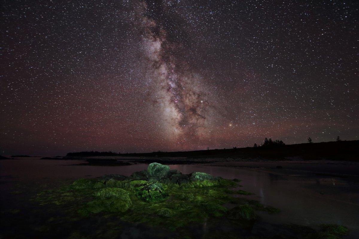 A photo of the Milky Way Galaxy taken from Kejimkujik Seaside Adjunct, Nova Scotia on July 23, 2017.