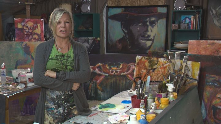 Edmonton-area artist Chris Riley is upset after $30,000 worth of her art was stolen from her driveway over the weekend.