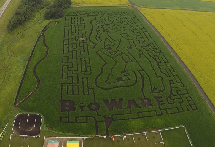 The Edmonton Corn Maze and BioWare have partnered up to create this year's maze design.