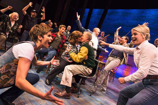 """Actors take part in a rehearsal for the play """"Come from Away"""" in this undated handout photo."""
