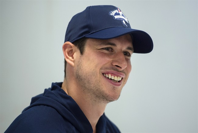Pittsburgh Penguins' Sidney Crosby laughs while speaking to reporters during a press conference in Halifax on Wednesday, July 12, 2017.