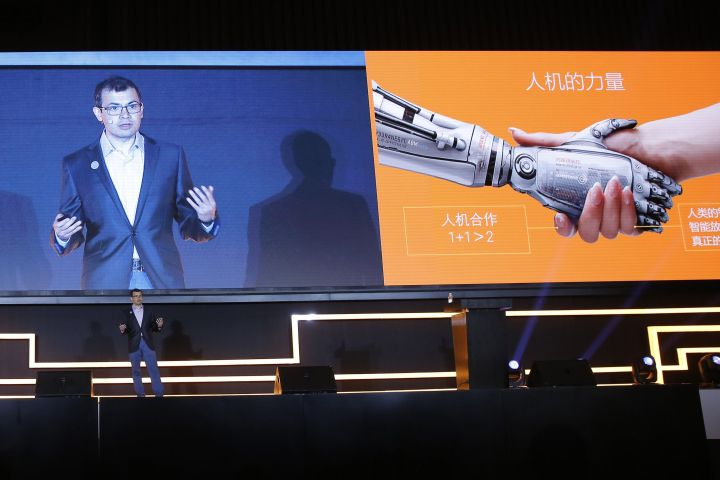 Demis Hassabis, co-founder of Google's artificial intelligence (AI) startup DeepMind speaks during the AI forum of the Future of Go summit at Wuzhen internet international conference and exhibition center in Wuzhen, China's Zhejiang province, in May 2017.