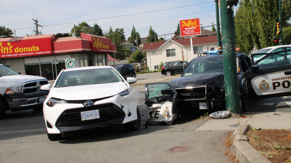 A VPD cruiser was involved in a collision in East Vancouver on Wednesday.