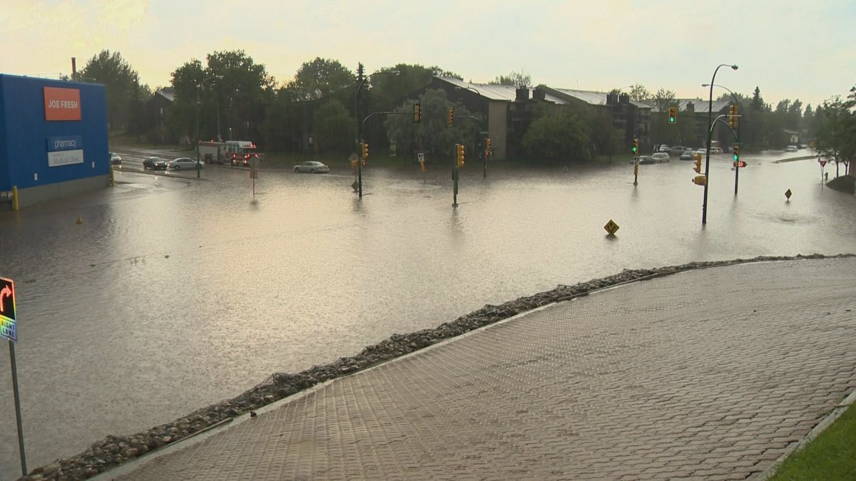 Flooding in Saskatoon's Confederation Park after a storm on Monday, July 10, 2017.
