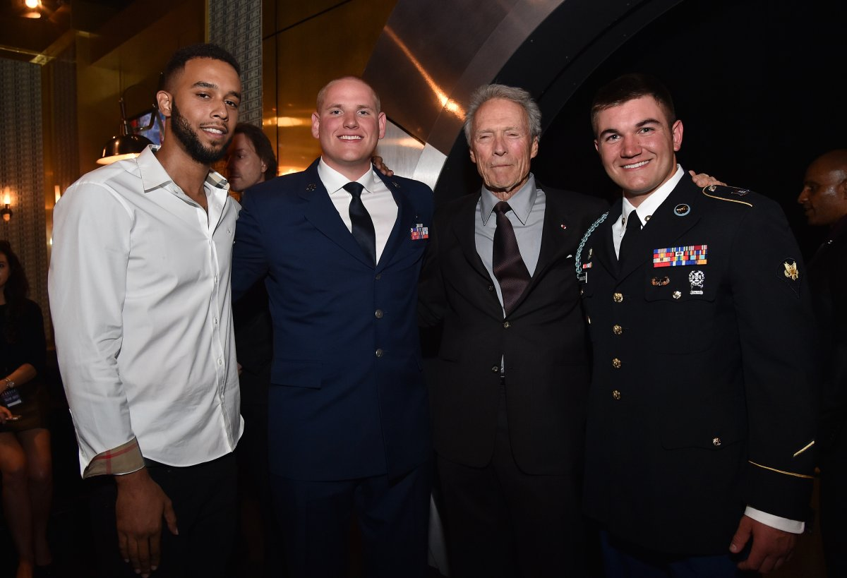 (L-R) Honorees Anthony Sadler and Airman First Class Spencer Stone, actor/director Clint Eastwood, and honoree Specialist Alek Skarlatos attend Spike TV's 10th Annual Guys Choice Awards at Sony Pictures Studios on June 4, 2016.