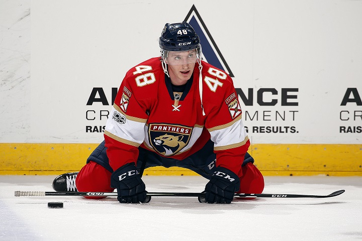 Michael Sgarbossa stretches on the ice prior to the start of an NHL game between the Florida Panthers and Ottawa Senators at the BB&T Center on February 26, 2017 in Sunrise, Florida.