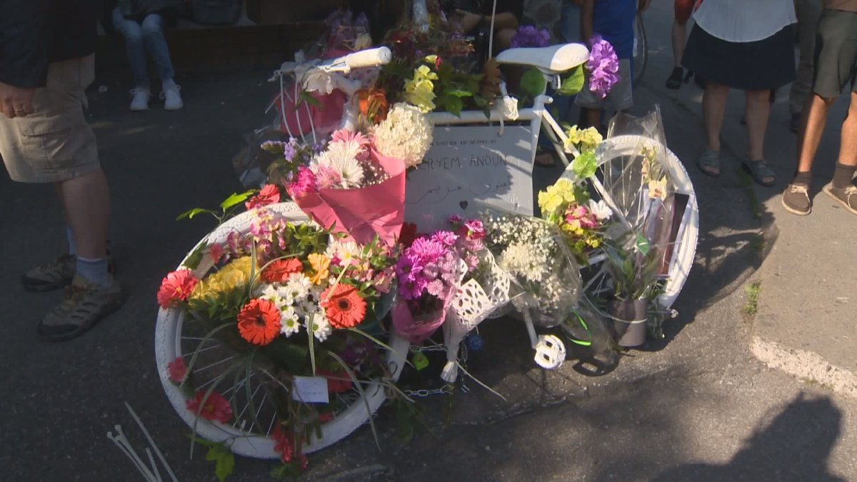 A ghost bike in memory of Meryem Anoun, who was struck and killed in Rosemont last week, was set up at the intersection of Bélanger Street and 6 Avenue. Friday, July 21, 2017.
