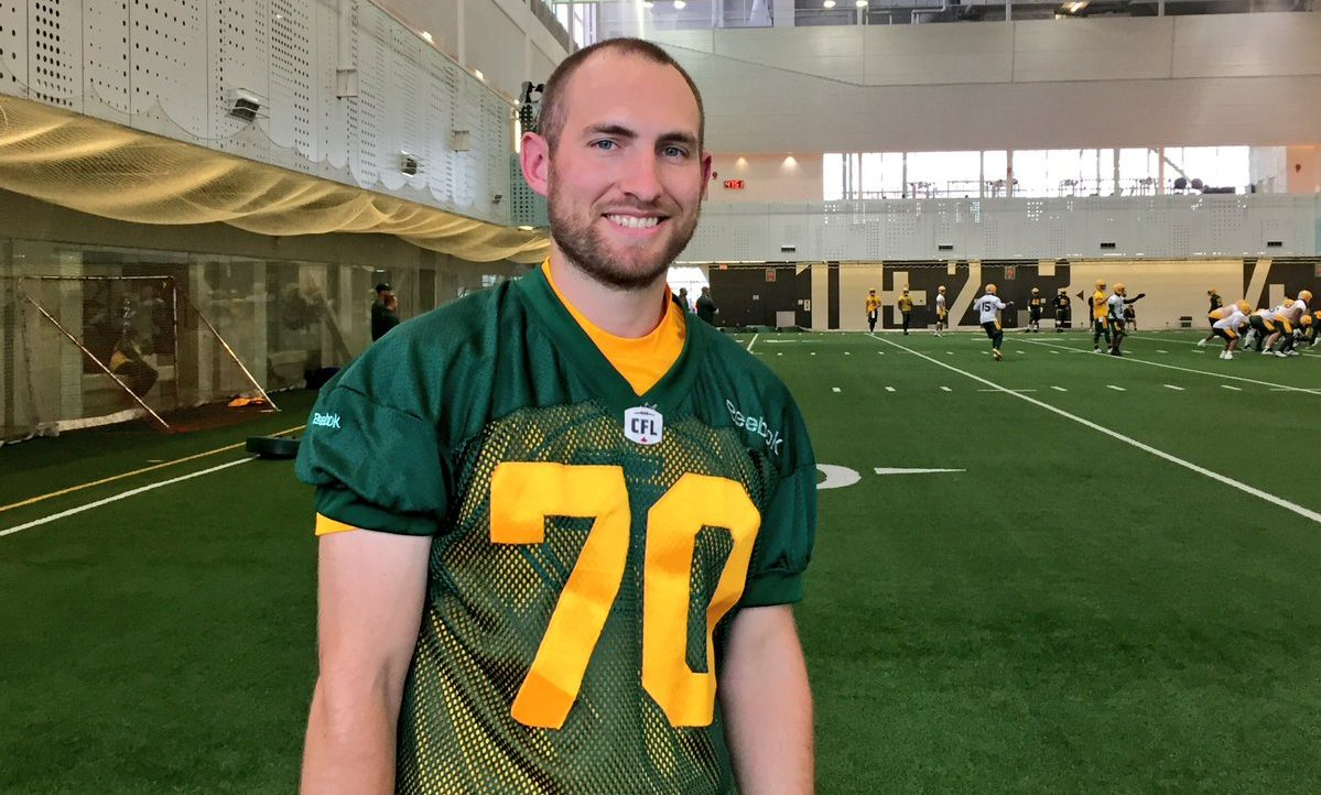 Kicker Hugh O'Neill following practice at the fieldhouse at Commonwealth Stadium on July 24, 2017.