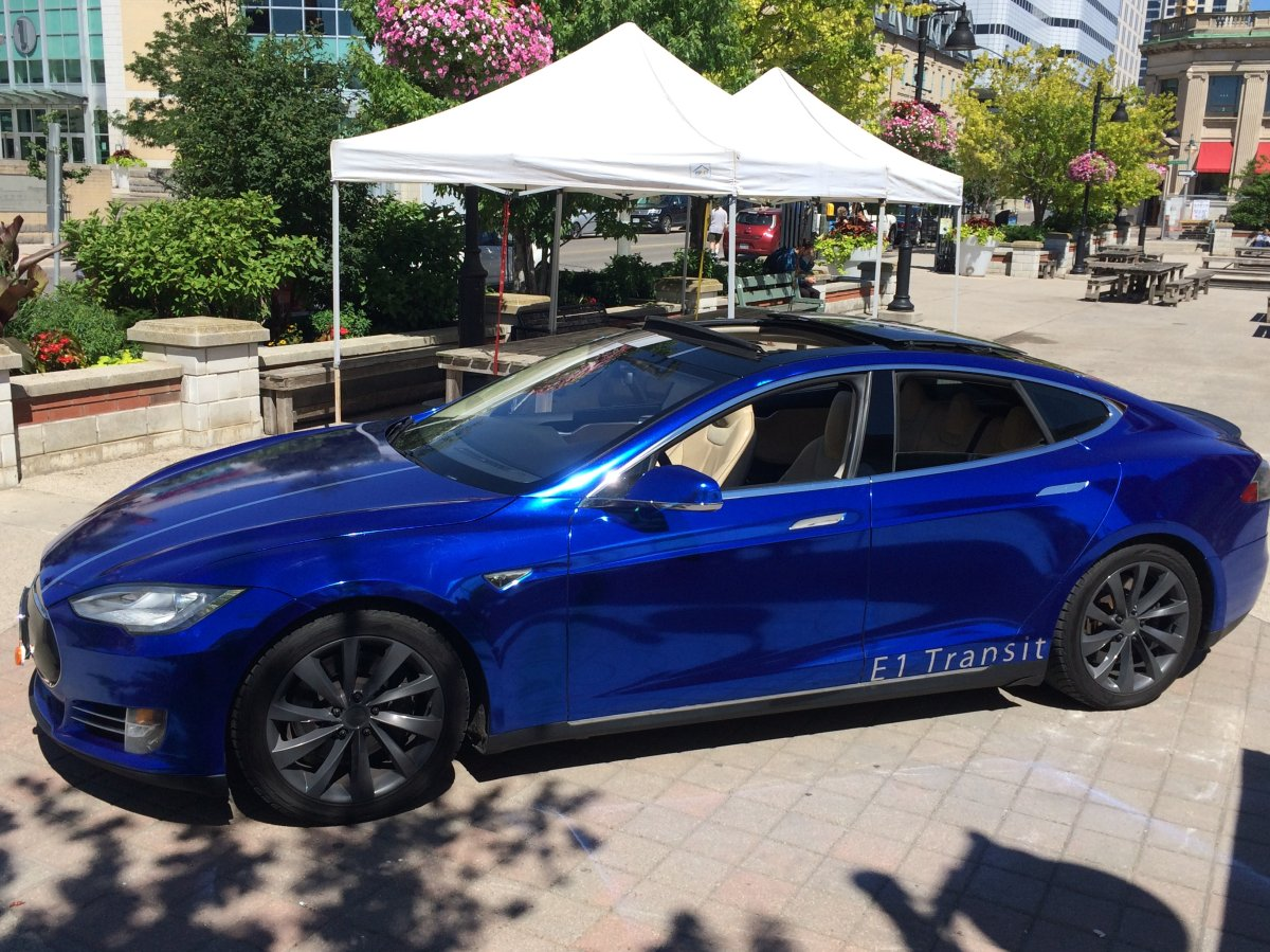 The Tesla Model S was parked outside of the Covent Garden Market for E1 Transit's launch celebration on Wed., July 5, 2017.