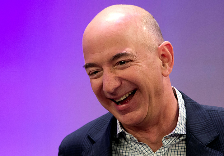 Amazon CEO Jeff Bezos speaks at conference in New York, on December 2, 2014.