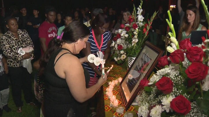 Family, friends and well-wishers attended a vigil for Jeremiah Perry Friday evening at C.W. Jefferys Collegiate Institute.