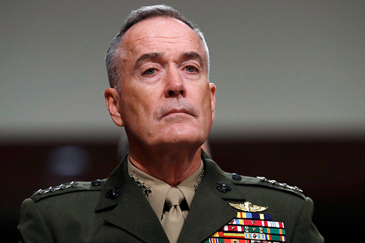 In this June 13, 2017 file photo, Joint Chiefs Chairman Gen. Joseph Dunford listens on Capitol Hill in Washington.