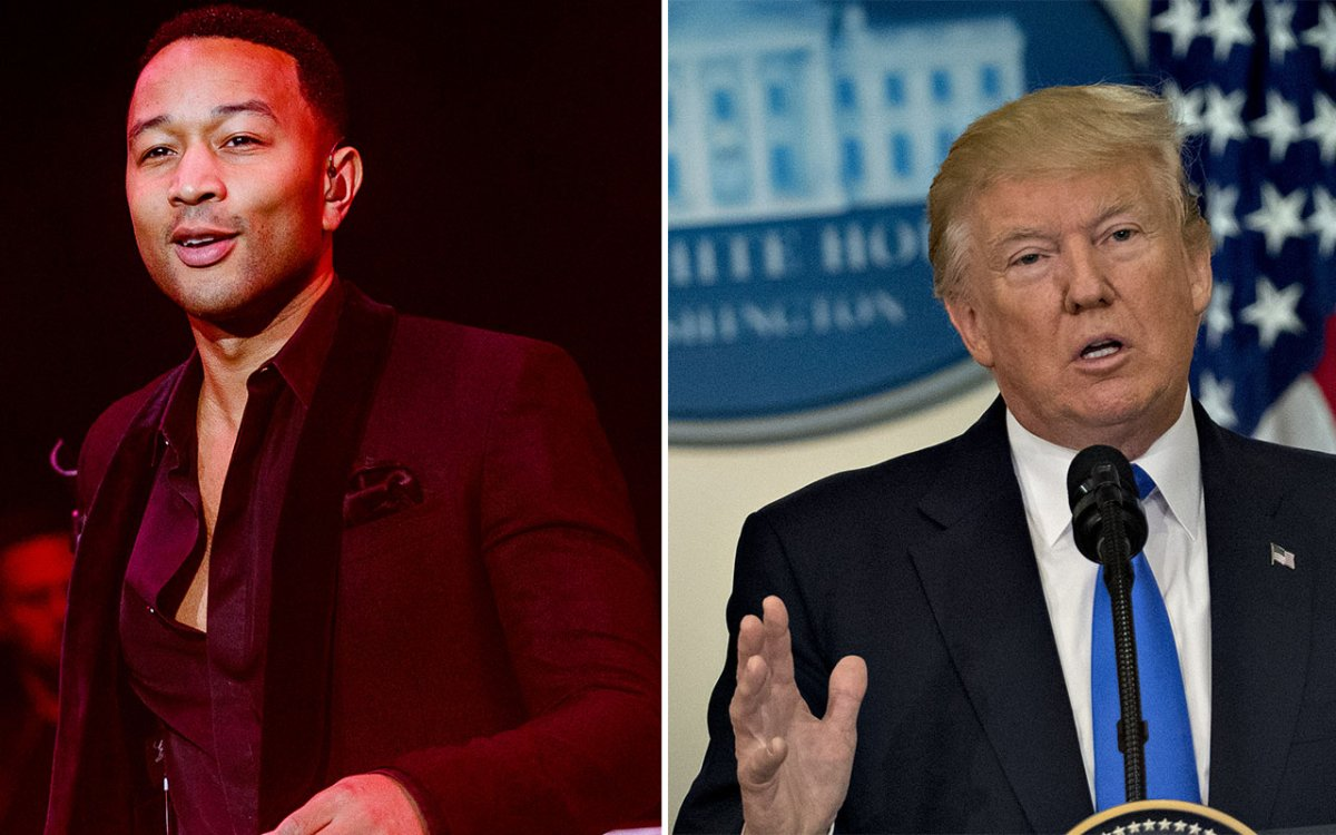 (L-R) John Legend and U.S. President Donald Trump.
