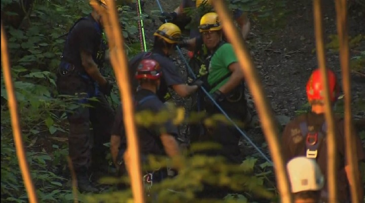 Firefighters were called to rescue a man in his 30s who fell down a steep embankment while walking on Mount Royal early Sunday morning.Sunday, July 23, 2017.