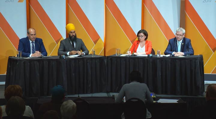 Saskatchewan Premier Brad Wall opposes a carbon tax, but Charlie Angus, Niki Ashton, Guy Caron and Jagmeet Singh support carbon pricing.