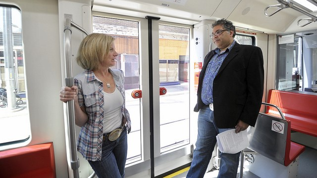 Premier Rachel Notley was joined by Calgary Mayor Naheed Nenshi to announce funding for Calgary's Green Line LRT.