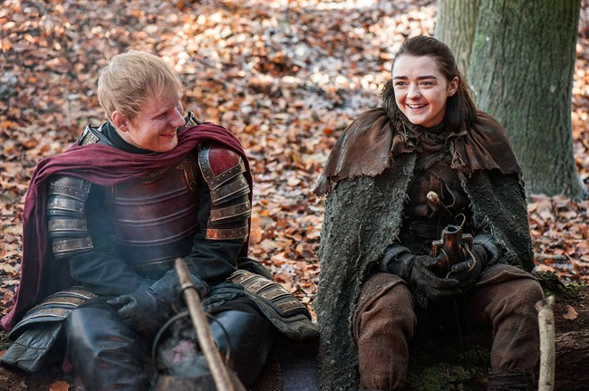 Ed Sheeran, left, and Maisie Williams in a scene from 'Game of Thrones.'.