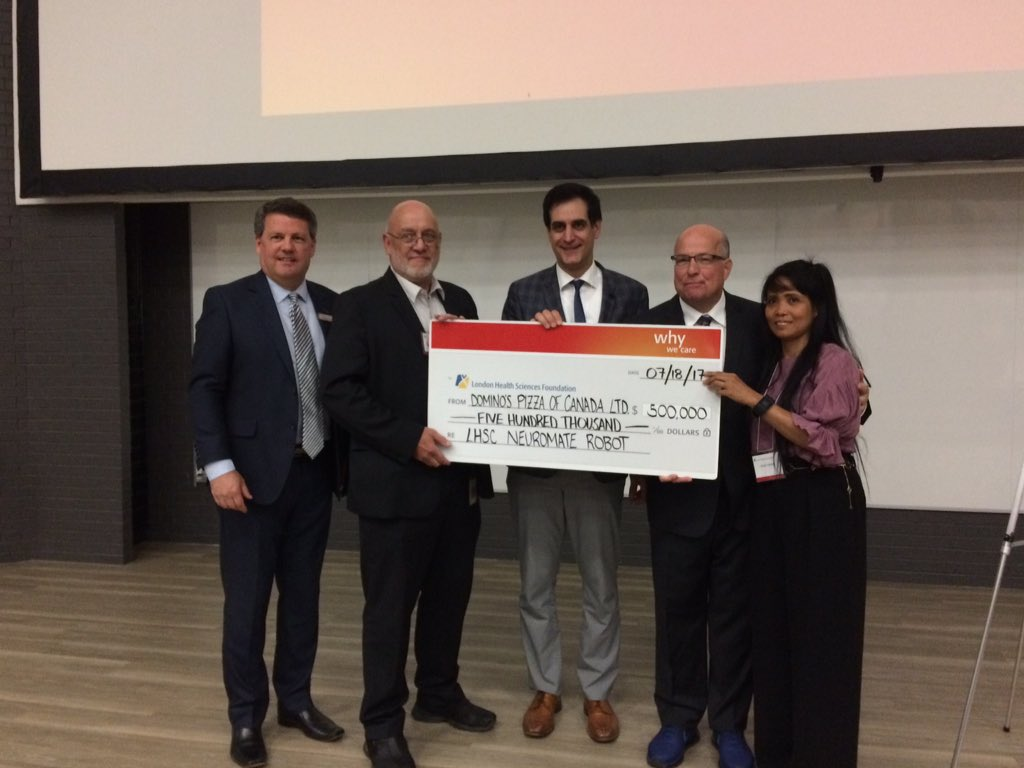 From left to right: President & CEO of London Health Sciences Foundation John MacFarlane, President and CEO of LHSC Murray Glendining, neurologist Dr. David Steven, Domino's Pizza of Canada CEO Michael Schlater and Lilibeth Schlater.