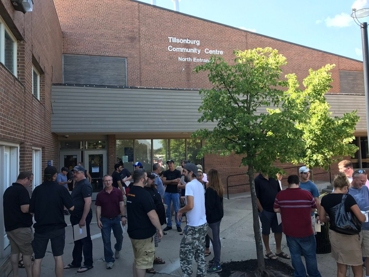 Siemens workers gather at the Tillsonburg Community Centre ahead of meeting discussing plant future.