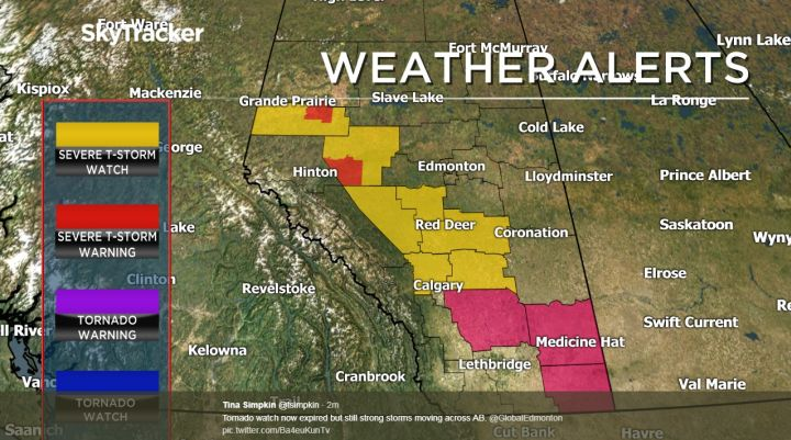 A map showing weather warnings and watches in Alberta at 9:15 p.m. on July 12, 2017.